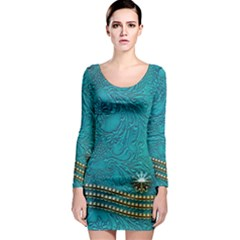Wonderful Decorative Design With Floral Elements Long Sleeve Bodycon Dresses