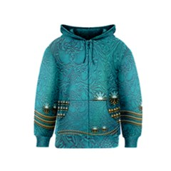 Wonderful Decorative Design With Floral Elements Kids Zipper Hoodies