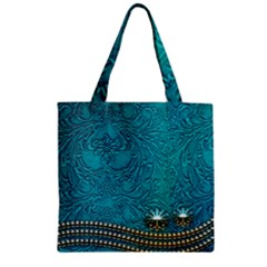 Wonderful Decorative Design With Floral Elements Zipper Grocery Tote Bags