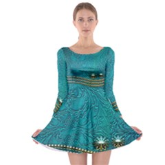 Wonderful Decorative Design With Floral Elements Long Sleeve Skater Dress