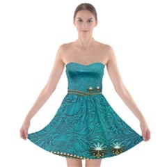 Wonderful Decorative Design With Floral Elements Strapless Bra Top Dress