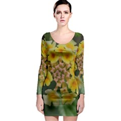 Colorful Flowers Long Sleeve Bodycon Dresses