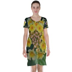 Colorful Flowers Short Sleeve Nightdresses