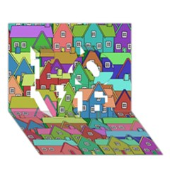 House 001 Love 3d Greeting Card (7x5)