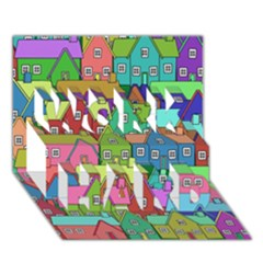 House 001 WORK HARD 3D Greeting Card (7x5)