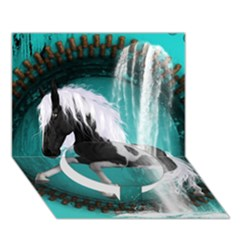 Beautiful Horse With Water Splash  Circle Bottom 3D Greeting Card (7x5)