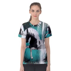 Beautiful Horse With Water Splash  Women s Sport Mesh Tees