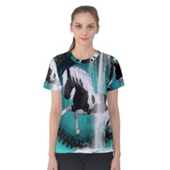 Beautiful Horse With Water Splash  Women s Cotton Tees
