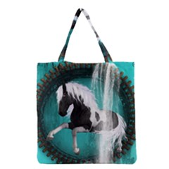 Beautiful Horse With Water Splash  Grocery Tote Bags