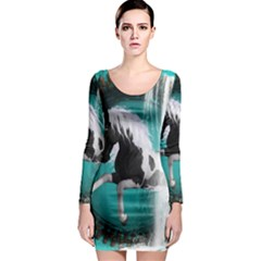 Beautiful Horse With Water Splash  Long Sleeve Bodycon Dresses