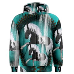 Beautiful Horse With Water Splash  Men s Zipper Hoodies