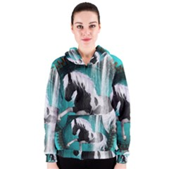 Beautiful Horse With Water Splash  Women s Zipper Hoodies