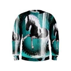 Beautiful Horse With Water Splash  Boys  Sweatshirts
