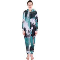 Beautiful Horse With Water Splash  Hooded Jumpsuit (Ladies)