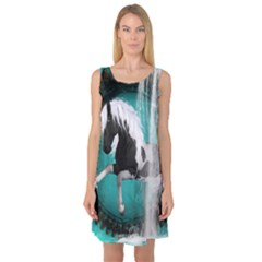 Beautiful Horse With Water Splash  Sleeveless Satin Nightdresses