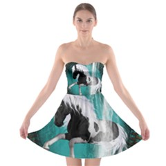 Beautiful Horse With Water Splash  Strapless Bra Top Dress