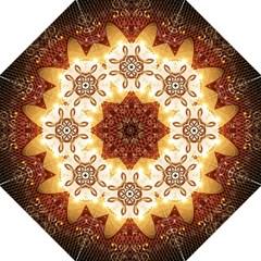 Elegant, Decorative Kaleidoskop In Gold And Red Hook Handle Umbrellas (large)