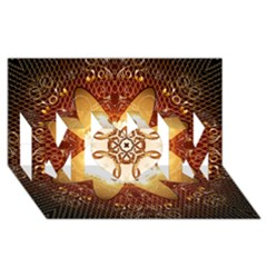 Elegant, Decorative Kaleidoskop In Gold And Red Mom 3d Greeting Card (8x4)