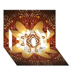 Elegant, Decorative Kaleidoskop In Gold And Red BOY 3D Greeting Card (7x5)