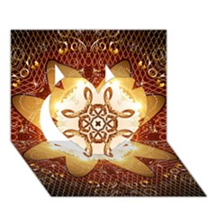 Elegant, Decorative Kaleidoskop In Gold And Red Heart 3D Greeting Card (7x5)