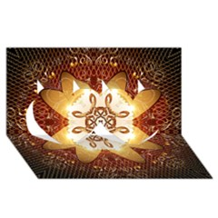 Elegant, Decorative Kaleidoskop In Gold And Red Twin Hearts 3d Greeting Card (8x4)