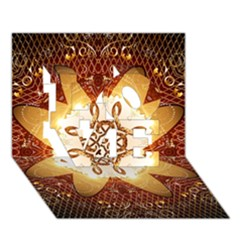 Elegant, Decorative Kaleidoskop In Gold And Red LOVE 3D Greeting Card (7x5)