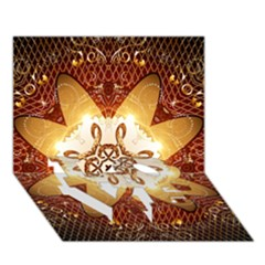 Elegant, Decorative Kaleidoskop In Gold And Red Love Bottom 3d Greeting Card (7x5)