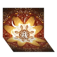 Elegant, Decorative Kaleidoskop In Gold And Red Clover 3D Greeting Card (7x5)