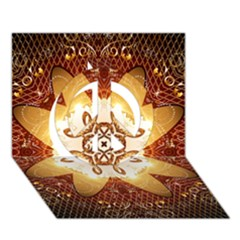 Elegant, Decorative Kaleidoskop In Gold And Red Peace Sign 3D Greeting Card (7x5)