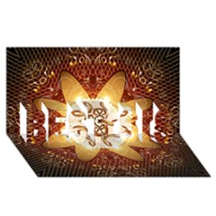 Elegant, Decorative Kaleidoskop In Gold And Red BEST SIS 3D Greeting Card (8x4)