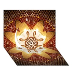 Elegant, Decorative Kaleidoskop In Gold And Red Circle 3D Greeting Card (7x5)