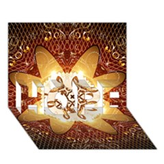 Elegant, Decorative Kaleidoskop In Gold And Red Hope 3d Greeting Card (7x5)