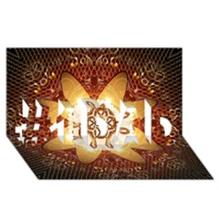 Elegant, Decorative Kaleidoskop In Gold And Red #1 Dad 3d Greeting Card (8x4)