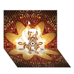 Elegant, Decorative Kaleidoskop In Gold And Red Ribbon 3D Greeting Card (7x5)
