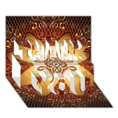 Elegant, Decorative Kaleidoskop In Gold And Red Thank You 3d Greeting Card (7x5)