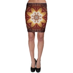 Elegant, Decorative Kaleidoskop In Gold And Red Bodycon Skirts