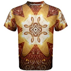 Elegant, Decorative Kaleidoskop In Gold And Red Men s Cotton Tees