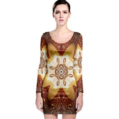 Elegant, Decorative Kaleidoskop In Gold And Red Long Sleeve Bodycon Dresses