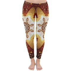 Elegant, Decorative Kaleidoskop In Gold And Red Winter Leggings