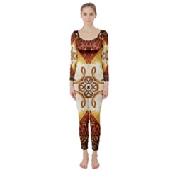 Elegant, Decorative Kaleidoskop In Gold And Red Long Sleeve Catsuit
