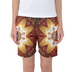 Elegant, Decorative Kaleidoskop In Gold And Red Women s Basketball Shorts