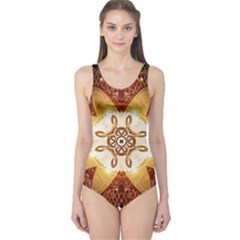 Elegant, Decorative Kaleidoskop In Gold And Red Women s One Piece Swimsuits