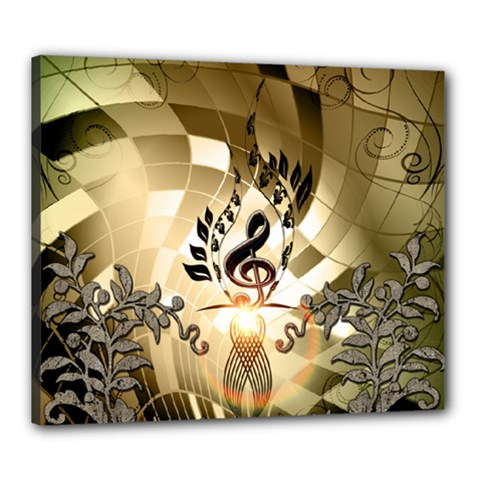 Clef With  And Floral Elements Canvas 24  X 20