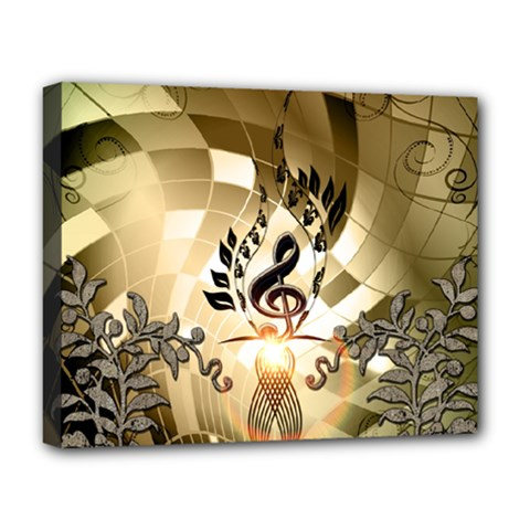 Clef With  And Floral Elements Deluxe Canvas 20  X 16