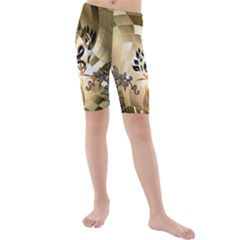 Clef With  And Floral Elements Kid s swimwear