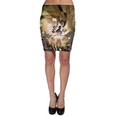 Clef With  And Floral Elements Bodycon Skirts