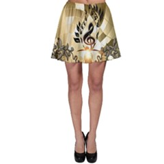 Clef With  And Floral Elements Skater Skirts