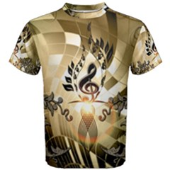 Clef With  And Floral Elements Men s Cotton Tees