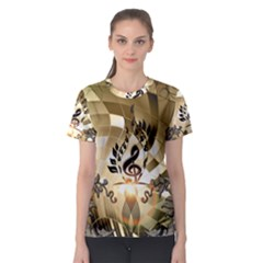 Clef With  And Floral Elements Women s Sport Mesh Tees