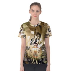 Clef With  And Floral Elements Women s Cotton Tees